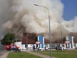 В Миорах горит физкультурно-оздоровительный комплекс