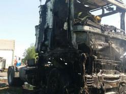 Под Слуцком сгорела фура, движение по объездной Р23 было парализовано