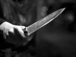 После распития ножом в шею
