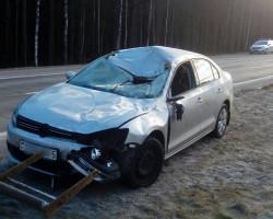 На трассе Р23 новый Volkswagen сбил лося. Автомобиль в утиль, водитель серьёзно не пострадал
