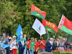 Через Слуцк прошёл автопробег «Символ единства», в центре города провели митинг. Фото