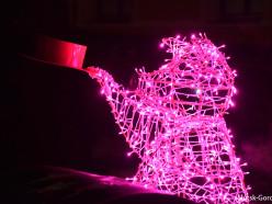Фотофакт: в центре Слуцка установили светящуюся свинку