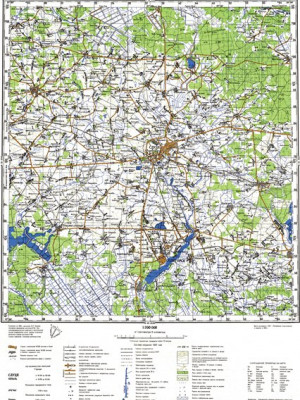 Топографическая карта Слуцка