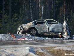 Жуткое ДТП на трассе Р23: одна из машин полностью сгорела, водитель погиб на месте